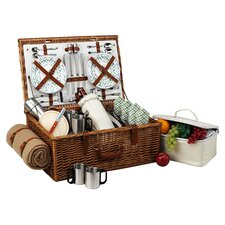 Dorset Basket for Four with Coffee Set and Blanket in Gazebo