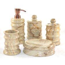 Bengal 5 Piece Sahara Beige Marble Bathroom Accessory Set