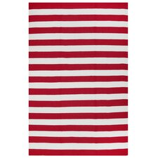 Nantucket Striped Red & White Indoor/Outdoor Area Rug