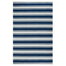 Lucky Blue/White Striped Indoor/Outdoor Area Rug