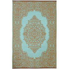 World Istanbul Fair Aqua & Warm Taupe Indoor/Outdoor Area Rug