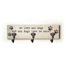 We Love Our Dog Paw Prints Wall Hanger