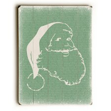 Santa Stencil on Green Wooden Wall Décor