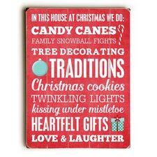 Candy Canes Traditions Heartfelt Wooden Wall Décor