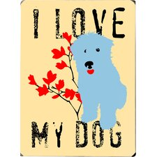 I Love My Dog with Blue Dog by Ginger Oliphant Graphic Art Plaque