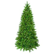 9' Green Belgium Christmas Tree with White Lights and Stand