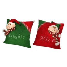 2 Piece Naughty & Nice Elf Fabric Euro Pillow Set