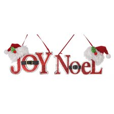 "2 Piece Santa Hat ""Joy"" and ""Noel"" Ornament Set"