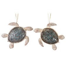 2 Piece Sea Turtle Ornament Set