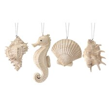 4 Piece Shells and Seahorse Ornament Set
