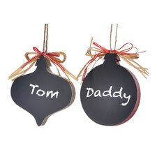 2 Piece Ball & Onion Chalkboard Ornament Set