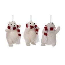 3 Piece Glitter Polar Bear with Scarf Ornament Set