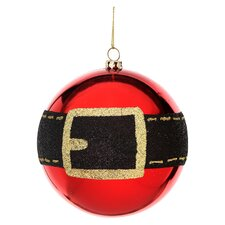 Shiney Glitter Santa Belt Ball Ornament (Set of 4)