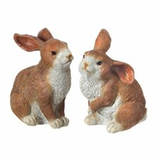 2 Piece Resin Standing Easter Bunny Set