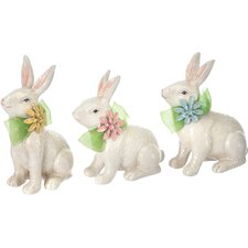 3 Piece Resin Flower Bunny Set