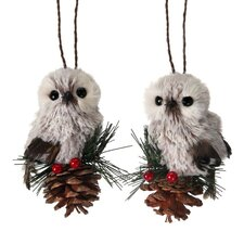 2 Piece Mountain Owl Ornament Set