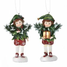 2 Piece Elves with Holly Ornament Set