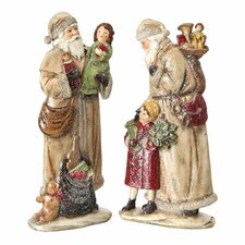 2 Piece Old World Santa and Kids Figurine Set
