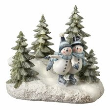 Skating Snowman Couple in Forest Table Piece