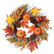 Pumpkin, Berry, and Maple Leaf Wreath