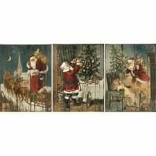 3 Piece Vintage Santa Wall Art Set