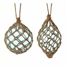 2 Piece Ball and Finial Glass Ornament Set
