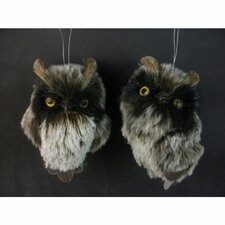2 Piece Faux Fur Owl Ornament Set (Set of 2)