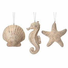 3 Piece Shell, Seahorse, and Starfish Ornament Set