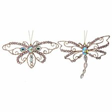 2 Piece Jewelled Butterfly and Dragonfly Ornament Set