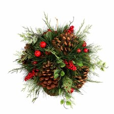 Holly, Berries, and Pinecones Kissing Ball