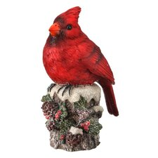 Cardinal on Decorated Stump Table Piece