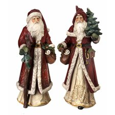 2 Piece Old World Santa Figurine Set