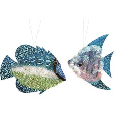 2 Piece Beaded and Sequined Tropical Fish Ornament Set