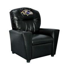 NFL Tween Kids Faux Leather Recliner with Cup Holder