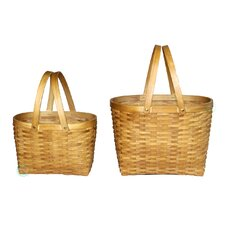 2 Piece Oval Wood Chip Shopping Baskets Set