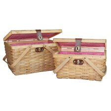 Gingham 2 Piece Lined Wood Picnic Baskets Set