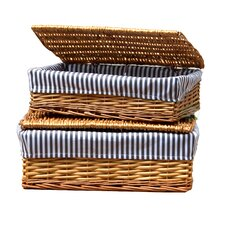 2 Piece Lined Storage Baskets with Lid Set