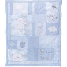 B is for Bear 2 Piece Quilt and Bumper Set in Blue