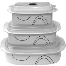 Simple Lines 6 Piece Microwave Cookware and Storage Set
