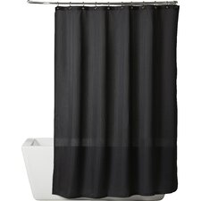 Solid Satin Stripe Shower Curtain