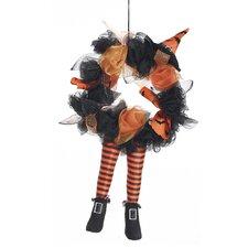 "Halloween 17"" Witch Leg Wreath"