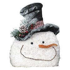 Crinkled Frosty Snowman Face Figurine