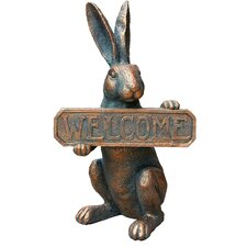 Res Rabbit with Welcome Sign Wall Décor