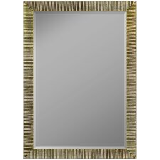 Textured Silver Ribbed Framed Wall Mirror