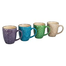 15 Oz. Raised Pattern Mug (Set of 4)