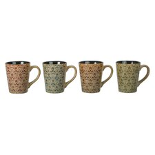 4 Piece Fleur Fashion Mug Set (Set of 4)