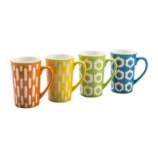 4 Piece 16 oz. Ikat Mug Set (Set of 4)