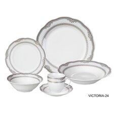 Victoria 24 Piece Porcelain Dinnerware Set