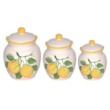 Lemon 3 Piece Deluxe Canister Set