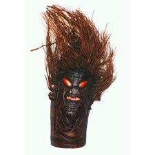 Tiki Mask with Bamboo Root Flush Mount